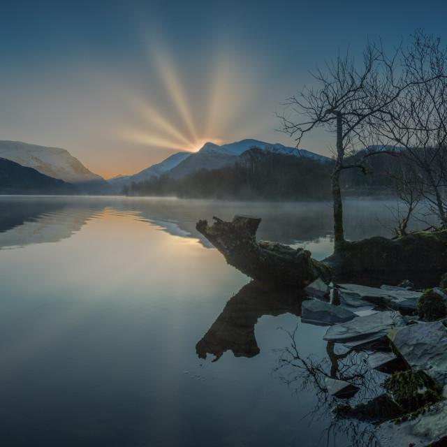 """""""Llyn Padarn Daybreak"""" stock image"""