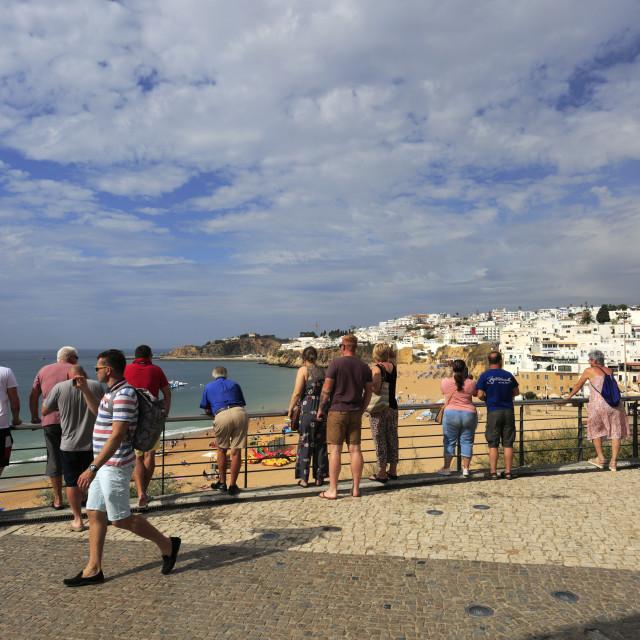 """Summer view over Albufeira beach, Albufeira town, Algarve, Portugal, Europe"" stock image"