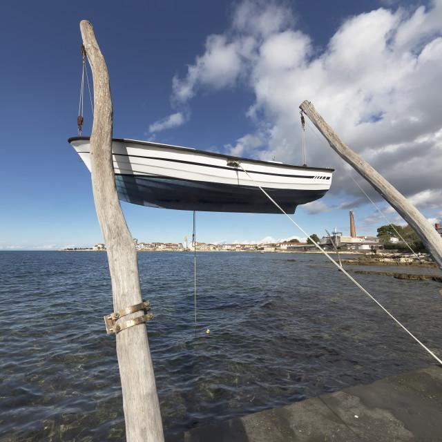 """""""Hanging boat in Umag, Istria, Croatia"""" stock image"""