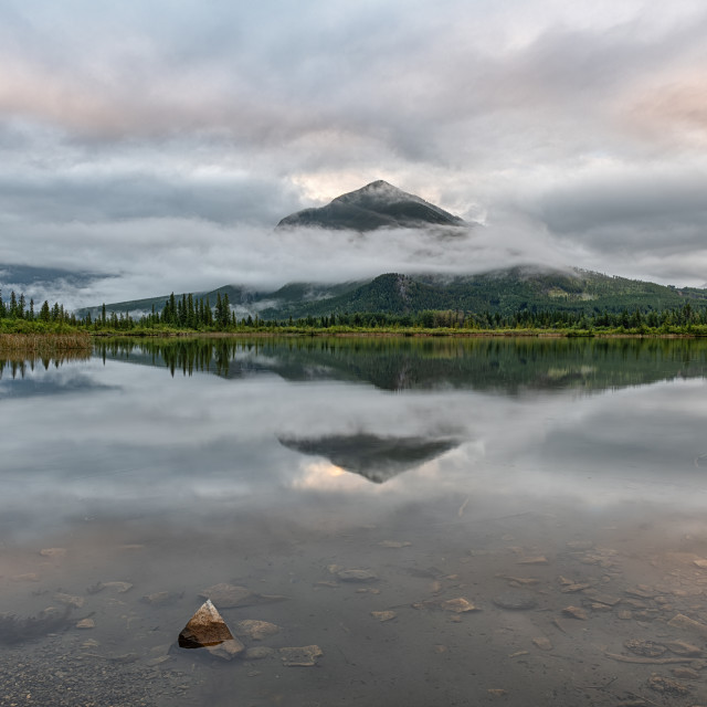 """Vermillion Lakes at Sunrise"" stock image"