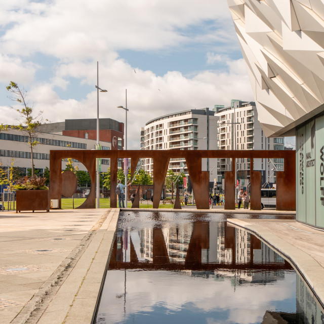 """""""Titanic Belfast sign with reflection"""" stock image"""