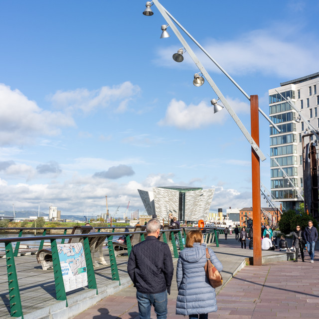 """Belfast, People walk towards Titanic Belfast"" stock image"
