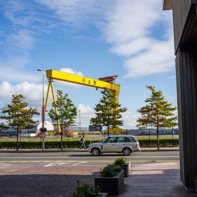 """Shipyard crane, Belfast"" stock image"