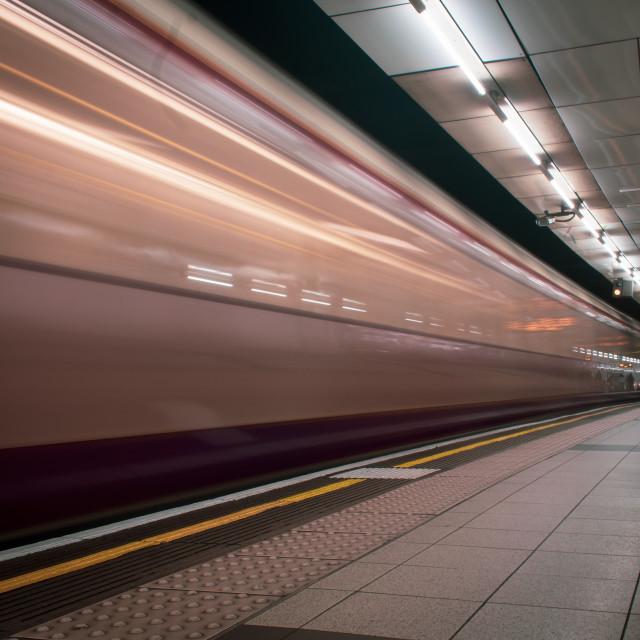 """Long Exposure of a Tube train"" stock image"