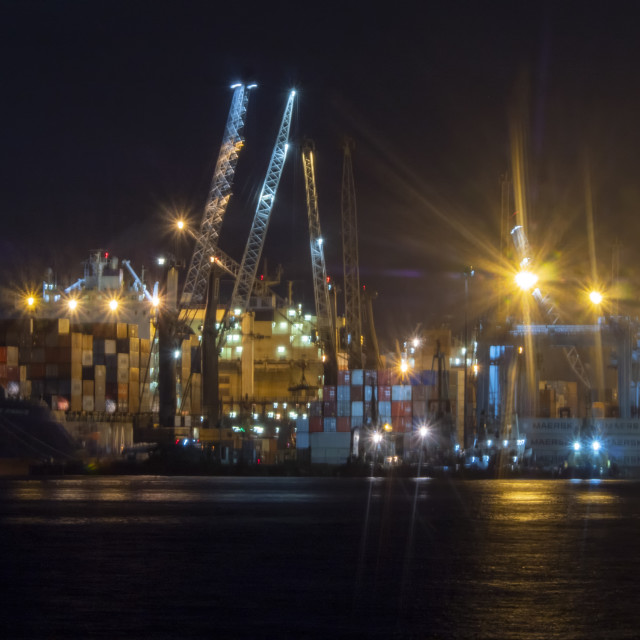 """""""Port by night"""" stock image"""