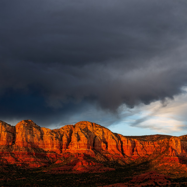 """Sunset light on the red rocks in Sedona, Arizona."" stock image"