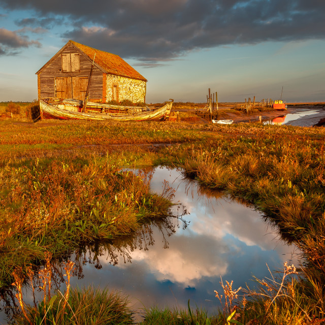 """Morning light at Thornham Harbour"" stock image"