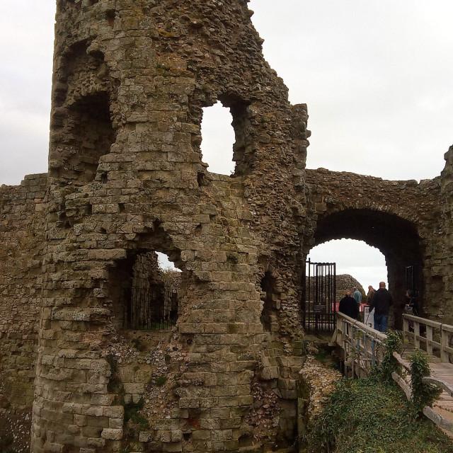 """Pevensey Castle, East Sussex, UK"" stock image"