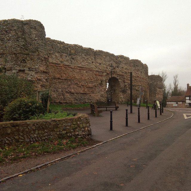 """Pevensey Castle Entrance, East Sussex, UK"" stock image"