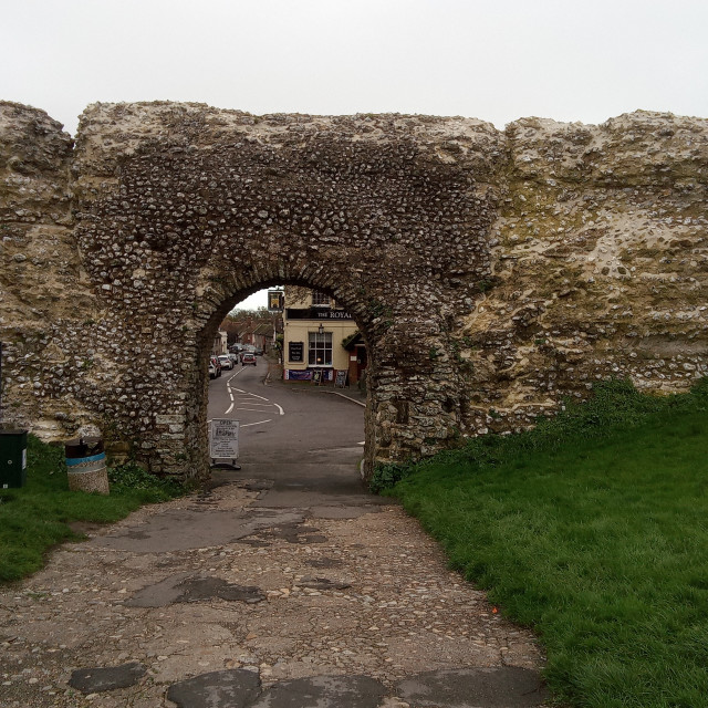 """""""Pevensey Castle Looking Out, East Sussex, UK"""" stock image"""