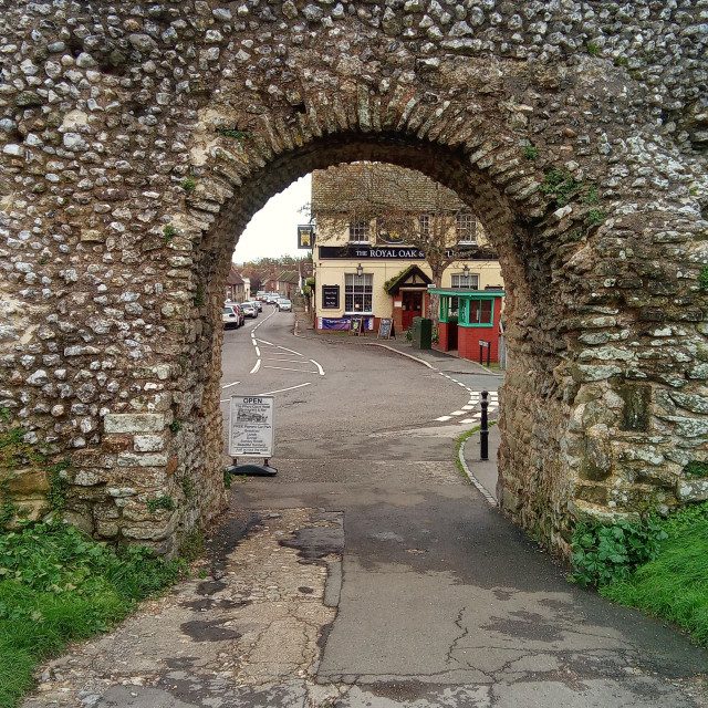 """""""Haunted Pevensey Castle Looking at Pensey High Street, East Sussex, UK"""" stock image"""