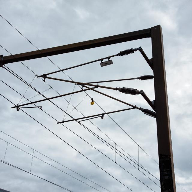 """high voltage line for the train in Copenhagen"" stock image"