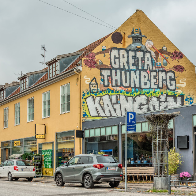 """""""Greta Thungerg, a huge text on a wall in the city of Copenhagen"""" stock image"""