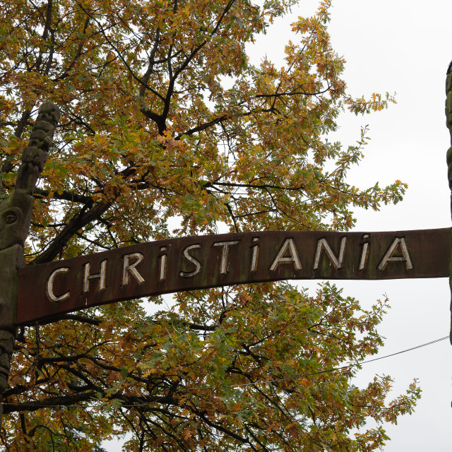 """""""sign to the freetown of Christiania in Copenhagen"""" stock image"""