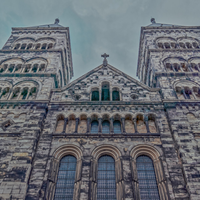 """""""The west towers of Lund Cathedral in a bluish evening light"""" stock image"""
