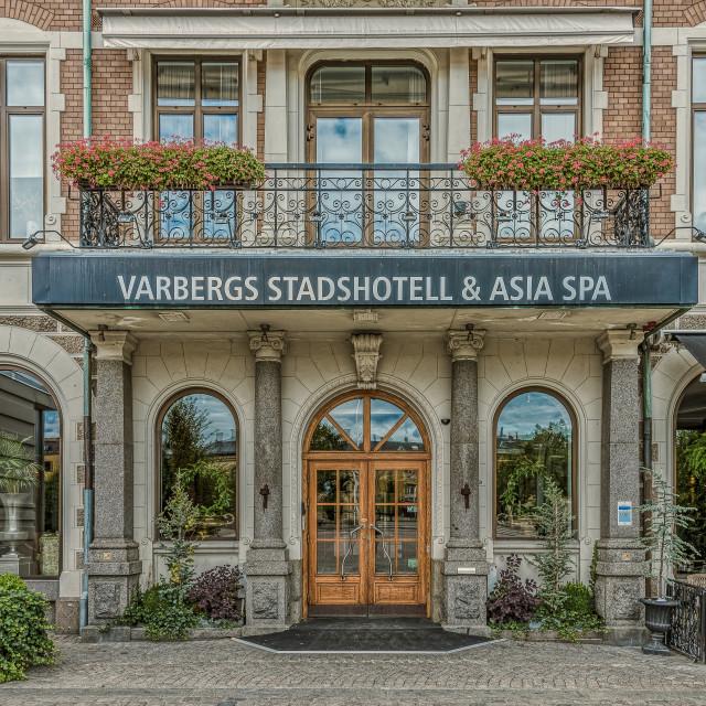 """the entrance door to stadshotellet in Varberg"" stock image"