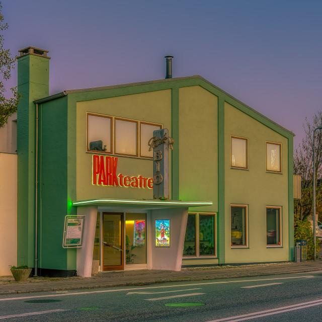 """A green old retro theatre in the evening light danish vitage des"" stock image"