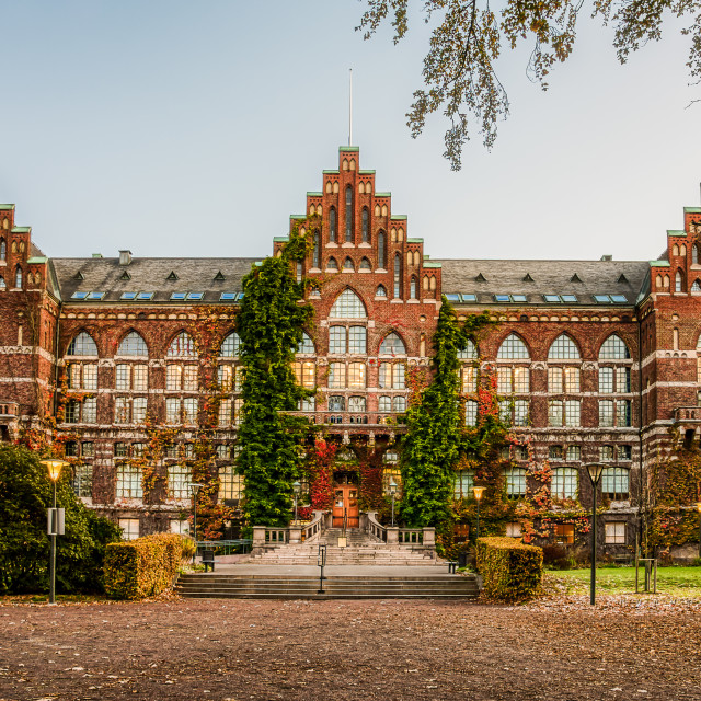 """""""The university library in Lund an early morning in autumn colour"""" stock image"""