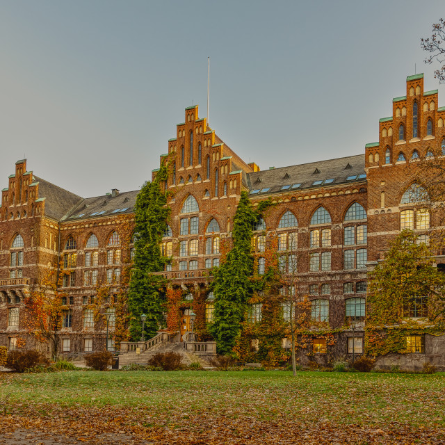 """""""The university library in Lund in autumn colours"""" stock image"""