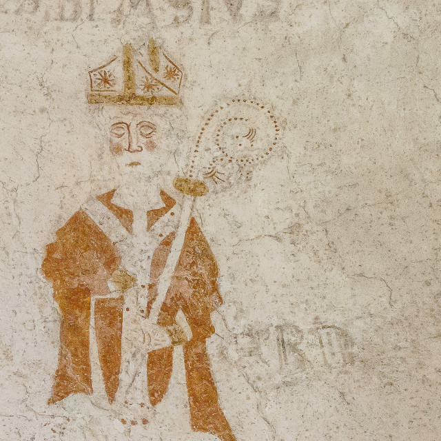 """""""Saint Blaise, an ancient bishop on a wall-painting i Sallerup Ch"""" stock image"""