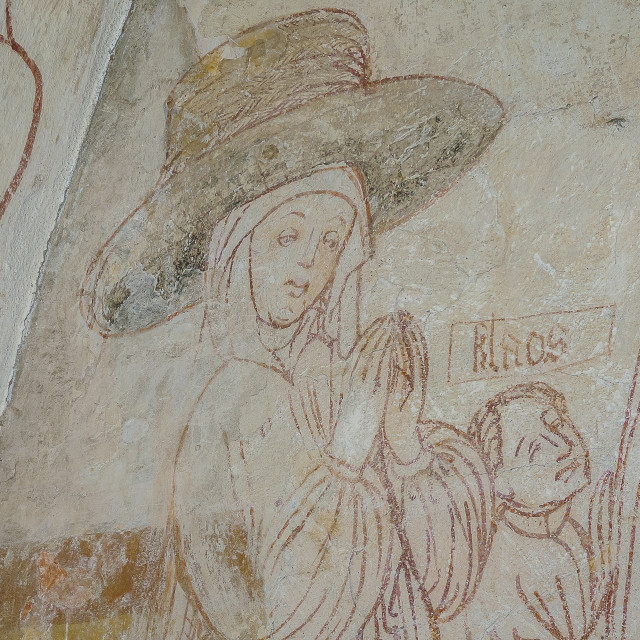 """""""A huge medieval hat, Pernille Thott and her son Klaos"""" stock image"""