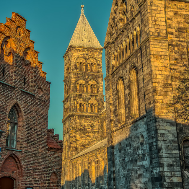 """""""Lund cathedral in the early morning sunlight"""" stock image"""