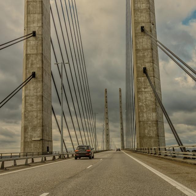 """Car driving over the bridge between Sweden and Denmark"" stock image"