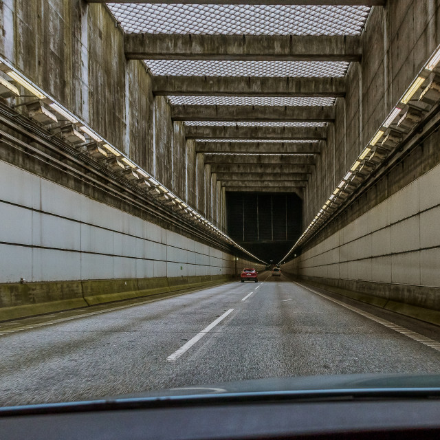 """""""border control in the tunnel between Sweden and Denmark to preve"""" stock image"""