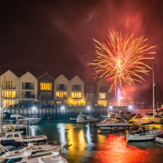 """Fireworks over the marina"" stock image"