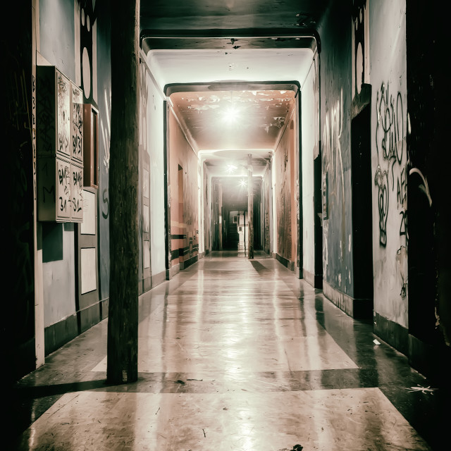 """Hallway of the former barracks"" stock image"