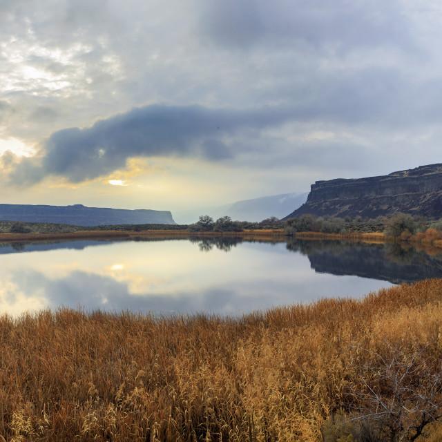 """Sun Setting Over Sun Lakes-Dry Falls State Park, Washington"" stock image"