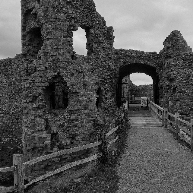 """""""Pevensey castle in Black and White"""" stock image"""