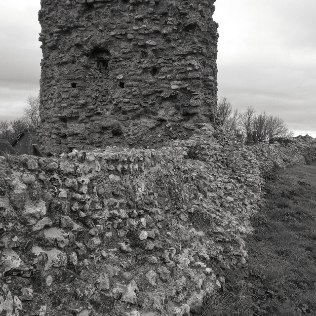 """""""Haunted Pevensey castle in Black and White"""" stock image"""