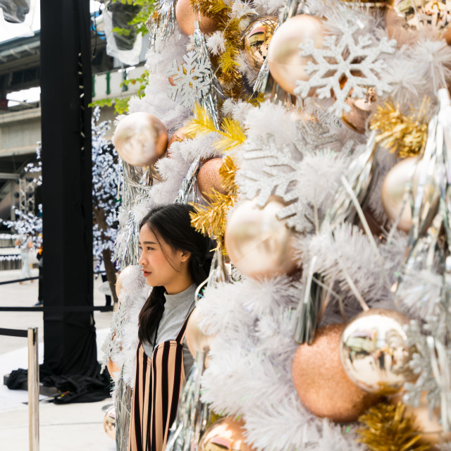 """""""Child posing by the Christmas decorations"""" stock image"""