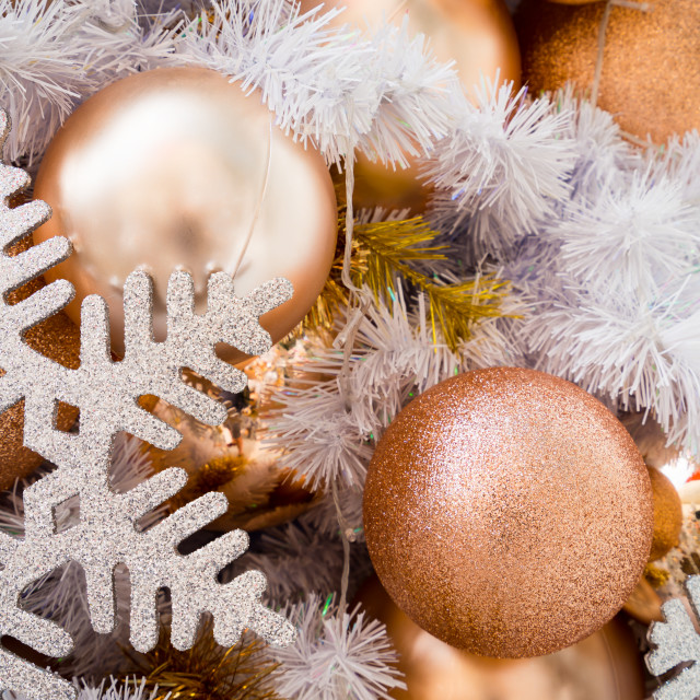 """""""Close-up of Christmas baubles hanging a Christmas tree"""" stock image"""