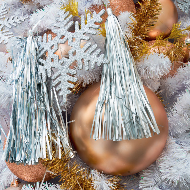 """""""Christmas decorations hanging from white christmas tree"""" stock image"""