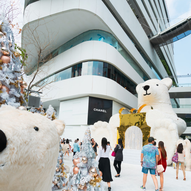 """People enjoying the giant polar bears"" stock image"