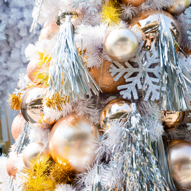 """""""Christmas baubles hanging from white Christmas tree"""" stock image"""
