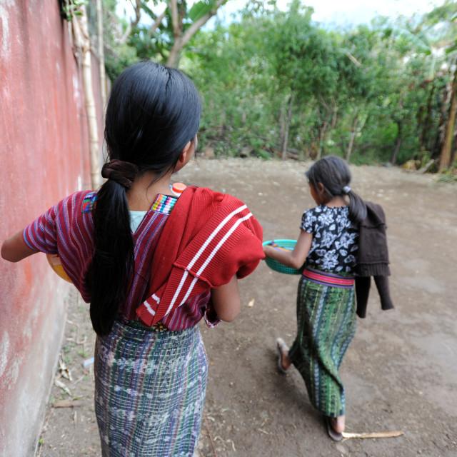 """Maya indigenous girls in Guatemala."" stock image"