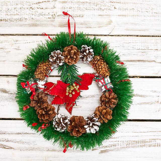 """""""Christmas wreath decoration hangs on front door"""" stock image"""