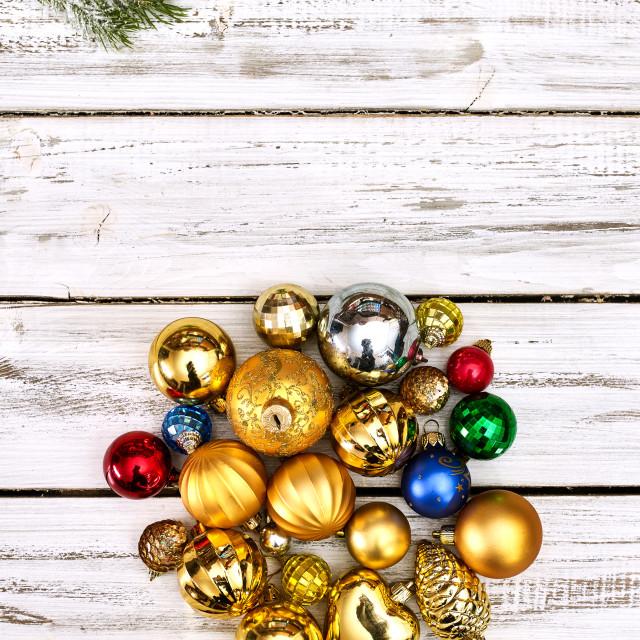 """Christmas wreath of Xmas balls decorations hangs on front door"" stock image"