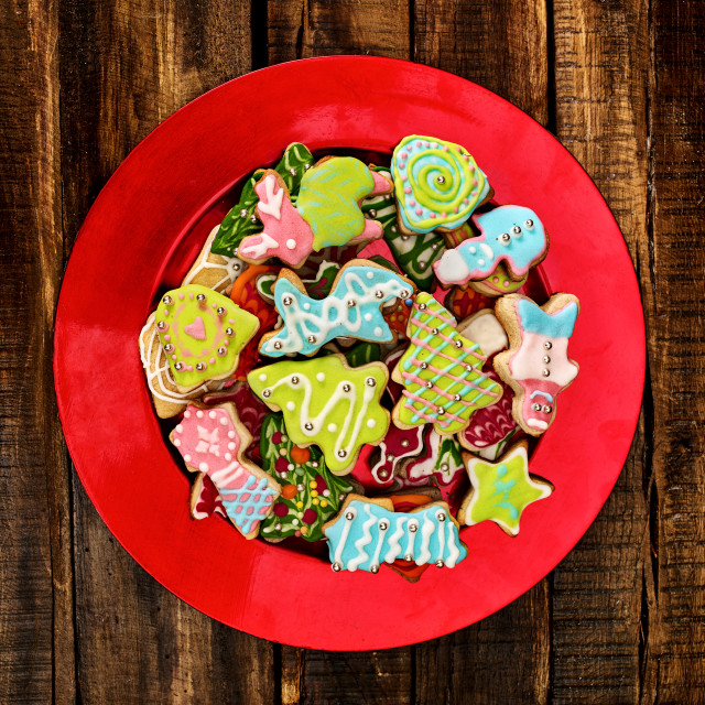 """""""Christmas gingerbread cookies on red Xmas plate"""" stock image"""