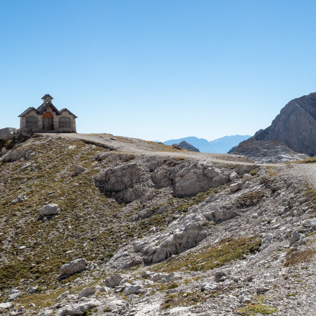 """A small church in the Dolomites. Italy."" stock image"