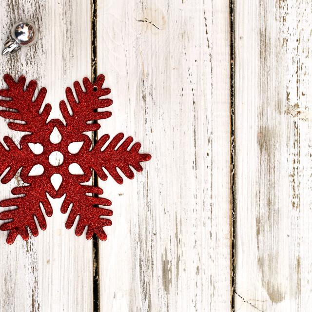 """Christmas snowflake decoration and Xmas glitter ball"" stock image"