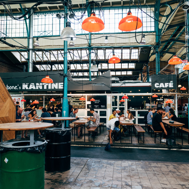 """View of Markthalle Neun, a historical market with street food in Kreuzberg borough in Berlin"" stock image"