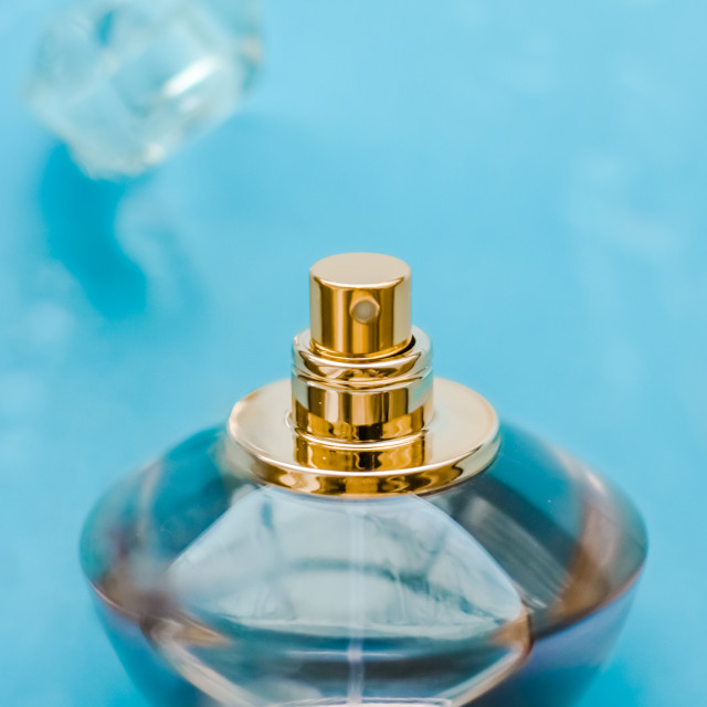 """Perfume bottle under blue water, fresh sea coastal scent as glamour fragrance..."" stock image"
