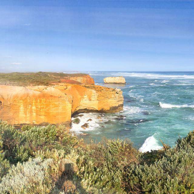 """Panoramic aerial view of Great Ocean Road rocks formations and London Bridge,..."" stock image"