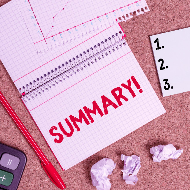 """Writing note showing Summary. Business photo showcasing a brief statement or..."" stock image"