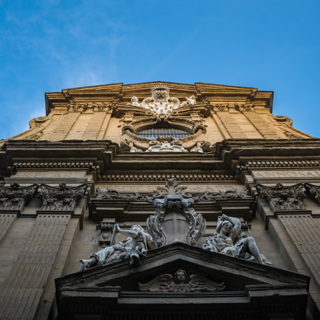 """""""Statue on the wall of the church of Saints Michael and Cajetan, Florence, Italy"""" stock image"""