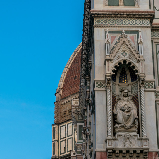 """""""Statue on the wall of the Cathedral of Santa Maria del Fiore in Florence, Tuscany, Italy"""" stock image"""